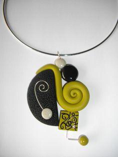 Collier rond graphique vert et noir - Vente de bijoux fimo en ...