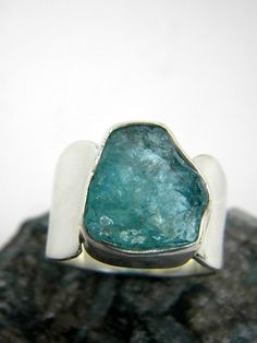 Silver raw apatite ring rough apatite crystal by nikiforosnelly