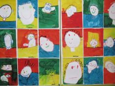 Portretten tekenen met vetkrijt. Afwerken met ecoline.