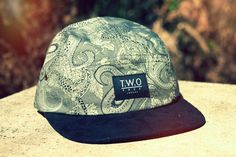 The Worlds Original Face  TWO Face London3rd Edition 5 panel cap, hat- Khaki paisley   - Black suede peak- Black leather white stitched strap with gold  buckleSupreme condition, only the best quality