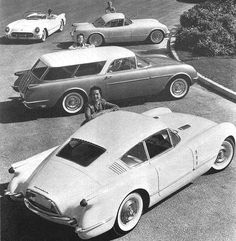 Corvette show cars: Convertible, Coupe, Nomad wagon, Corvair fastback coupe (1954)