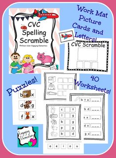 40 CVC Worksheets, work place with picture cards and letters, and CVC puzzles!