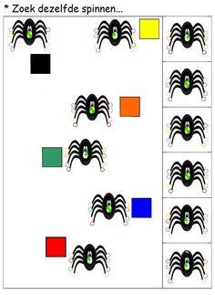 * Zoek dezelfde spinnen..... 1-2 Halloween, School, Cards, Spider, Maps, Playing Cards, Spooky Halloween