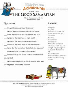 Enjoy our free Bible Quiz, The Good Samaritan. Fun for kids to print and test their knowledge. Bible Activities For Kids, Bible Study For Kids, Bible Lessons For Kids, Kids Bible, Bible Resources, Bible Games, Adventure Bible, Bible Quiz, Bible Knowledge