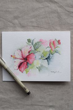 Rosa Magenta Hibiscus Aquarell handbemalt-Karte Drucke