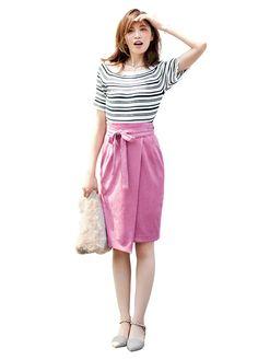【毎日コーデ】ベロアの巻きスカートで格上カジュアル!くすみカラーの高見えコーデ