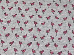 Flamingoes Print Stretch Jersey Knit Dress Fabric Pink Grey | Fabric | Dress Fabrics | Minerva Crafts Grey Fabric, Cotton Fabric, Minerva Crafts, Jersey Knit Dress, Flamingo Print, Pink Grey, Printing On Fabric, Fabrics, Prints