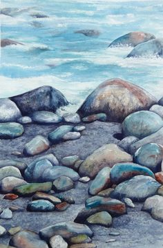 watercolor rocks on beach - Bing images Beach Watercolor, Beach Condo, Landscape Paintings, Bing Images, Nautical, Sea, Explore, Rocks, Outdoor