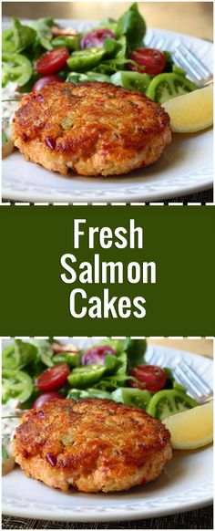 """Salmon cakes are one of my go-to emergency meals. - ""Salmon cakes are one of my go-to emergency meals. Every once in a while I like to use fresh salmo - Seafood Dishes, Seafood Recipes, Cooking Recipes, Healthy Recipes, Chef John Recipes, Healthy Dinners, Dinner Recipes, Fresh Salmon Recipes, Baked Salmon Recipes"