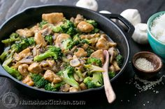 """Chicken Broccoli and Mushroom Stir Fry The sauce in this broccoli chicken stir fry is perfectly """"saucy,"""" making it ideal for serving over ho. Asian Recipes, Healthy Recipes, Ethnic Recipes, Healthy Meals, Healthy Chicken, Stir Fry Recipes, Cooking Recipes, Homemade Stir Fry Sauce, Chicken Broccoli Stir Fry"""