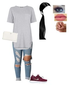 """Untitled #129"" by ladyt-1 ❤ liked on Polyvore featuring Topshop, Lumière, NYX and Prada"