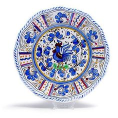 Le Cadeaux Rooster Blue  Melamine Dinner Plates  Set of 8 >>> Continue to the product at the image link.