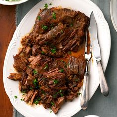 Flavorful Pot Roast Recipe -On hectic days, this is so quick and easy to prep! Convenient packages of dressing and gravy combine to create a delicious sauce for a fall-apart roast.—Arlene Butler, Ogden, Utah