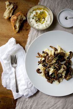 Penne with wild mushrooms, lemon scented ricotta & thyme