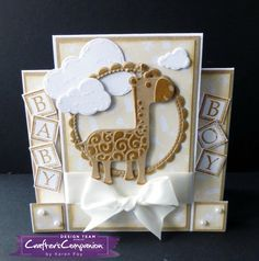 Stepper Card made using Sara Signature Little Angel Collection - The Gentle Giraffe die. Designed by Karen Foy #crafterscompanion