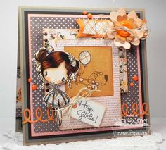 I made this card with the sweet MFT Wendy Burns Design Cupcake Cutie Stamp set and I used several MFT Die-namics...Looped Border, LLD Insert It - InstaFrame, 3X4 Notepad Die-namics and Blueprints 2 and 3!