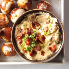 Slow Cooker Cheddar Bacon Ale Dip Recipe -My tangy, smoky dip won the top prize at our office party recipe contest. Other beers can work, but steer clear of dark varieties. —Ashley Lecker, Green Bay, Wisconsin