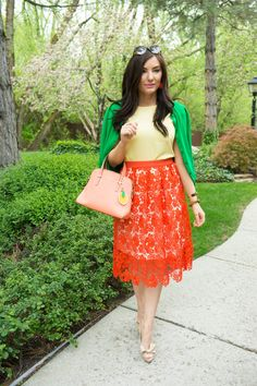 Happy weekend my lovely friends! Today I'm sharing with you one of my favorite trends of the season- crochet lace with a peek-a-boo trim. It's such a ladylike trend that is perfect for spring as well as summer. I'm already planning outfits with this skirt to wear to brunch with friends as well as some upcoming weddings. I was instantly drawn to the vibrant color of this OH so chic skirt and knew it needed a new home in my closet. This crochet lace skirt Is made by one of my favor...