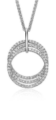 Stunning Trio Circle Diamond Pendant in 14k White Gold!