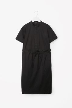 COS image 2 of Gathered waist shirt dress in Black