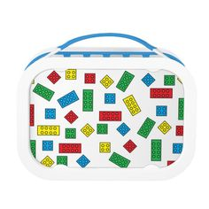 """""""Building Blocks"""" Lunch Box Set is so much fun for back-to-school! Includes large (sandwich) container, two small containers, and ice pack! BPA-free, phthalate-free, and lead-free. 100% recyclable 100% dishwasher safe (excluding faceplates)"""