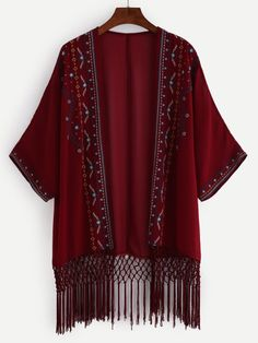 Embroidered Lattice Embellished Fringe Chiffon Kimono
