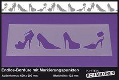 Schablone XL Bordüre Schuhe High-Heels - LB31   von Lunatik-Style via dawanda.com