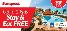 Kids Stay & Eat FREE at Gran Caribe Resort AND Gran Porto Resort! Limited Time Offer! http://www.sunquest.ca/en/gran-resorts-mexico-deals
