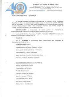 PORTARIA 05 COMISSAO DE VESTIBULAR 2017.1