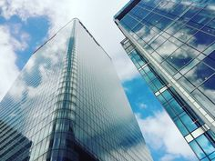 #Canada #Square #Canary #Wharf #Beautiful #Blue #Sky #Building #Clouds #Skyscraper #City #Of #London #UK #England by dawidm95