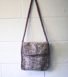 Hand Knitted Shoulder Bag Purple and White Handbag by Kezylou