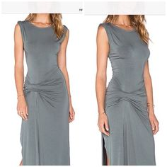 Bryton Wine Colored Maxi Dress Never worn, NWOT. I bought this to wear to a wedding but was too heavy. Now I lost the weight but don't really have a need for it. It's made of a soft jersey like fabric. High thigh slit. Very flattering. I added stock photos from a website along with a few of my own. Please don't be confused. It's a deep wine color. Price not negotiable. Never worn. Perfect condition. Young Fabulous & Broke Dresses Maxi