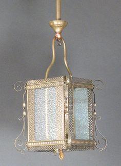 Ornate Gas Hall Lantern with Original Finish