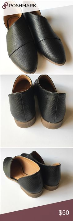 NWT black snake skin flats Brand new, in box, never worn. Purchased wrong size. Super cute Shoes Flats & Loafers