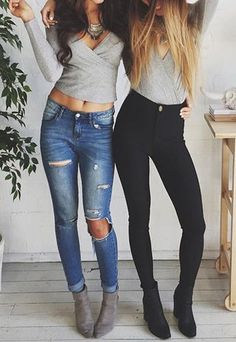 I like both of these outfits. Maybe not that much belly showing :) and I have black jeans.