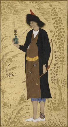1630. 'Nashmi the Archer,' inscribed 'the most humble Riza 'Abbasi drew it.' A tall striking figure dressed in a black cloak. Yet his paunch shows as he idly puffs on a waterpipe while the bow is held limply by his side. A poorly bandaged ankle is another pointed weakness, given his title. Persian, Safavid period Iran