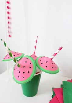 Free printable straw umbrellas that look like little watermelons! The cutest straw decor ever.   A Joyful Riot