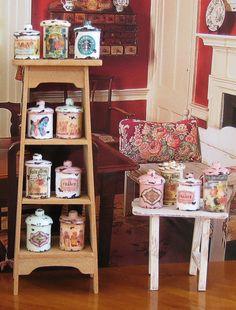 Dowel + button + bead + paint + label + distressing = vintage-look miniature enamel ware