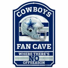 NFL Dallas Cowboys 11-by-17 inch Fan Cave, No Offseason Wood Sign $19.99