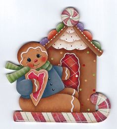HP GINGERBREAD Gingerbread House and Candy Cane FRIDGE MAGNET #Handpainted