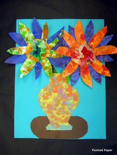 Painted paper + painted coffee filter = nice vase of flowers in 2x 40 minute classes.