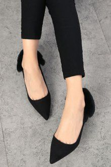 Pointed Toe Faux Fur Chunky Heel Pumps