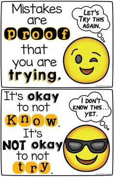 Two FREE growth mindset posters to get your students thinking - Emoji Style! From Light Bulbs and Laughter.