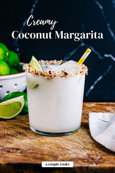 This coconut margarita recipe is the cocktail you didn't know you were missing! It's zingy and creamy, pairing lime and tequila with coconut. | alcoholic drinks | drinks | cocktails | tequila drinks | mexican drinks | margarita recipes | cointreau cocktail | triple sec drinks | summer cocktails | cream of coconut drinks | coconut cocktails | #coconutmargarita #coconut #creamofcoconut #drink #cocktail #margarita #margaritarecipe Coconut Tequila, Coconut Margarita, Coconut Drinks, Margarita Recipes, Coconut Martini, Coconut Recipes, Frozen Drink Recipes, Frozen Drinks, Cocktail Recipes