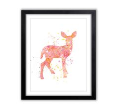 Watercolor Deer, Nursery Art, Woodland Nursery, Pink and Orange, Baby Girl, Children's Room, Art, Kids Art, PRINT