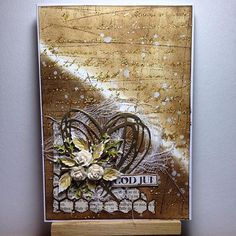 Christmas in brown and gold #cardmaking #mojoisback #sizzix #ranger_ink #timholtz