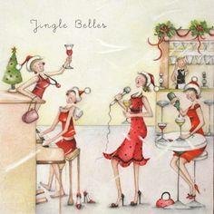 "Cards "" Jingle Belles "" - Berni Parker Designs ღ✟ Vintage Christmas Cards, Christmas Greeting Cards, Christmas Pictures, Christmas Art, Christmas Greetings, Illustrations, Illustration Art, Crazy Friends, Creations"
