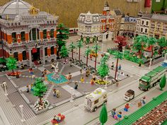 City Diorama by f_Random on Flickr.  Excellent Town Square Plaza example.  Love the fountain too.