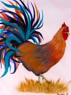Chicken.  One Stroke Painting by Susan Earl.