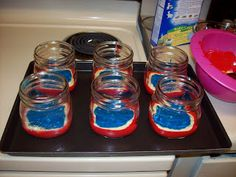 How to make red, white, and blue cake in a Mason jar for 4th of July!